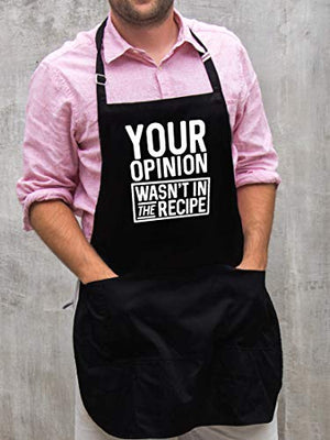 BBQ Grill Apron - Your Opinion Wasn't in the Recipe - Funny Apron For Dad - 1 Size Fits All Chef Apron Poly/Cotton 4 Utility Pockets, Adjustable Neck and Extra Long Waist Ties - His Perfect Gifts