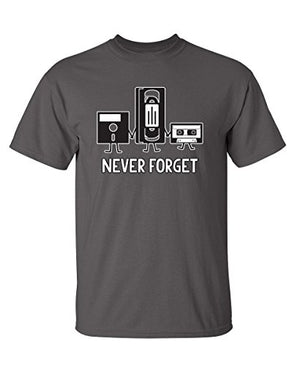 Never Forget Funny Retro Music Mens Novelty Funny T Shirt L Charcoal - His Perfect Gifts