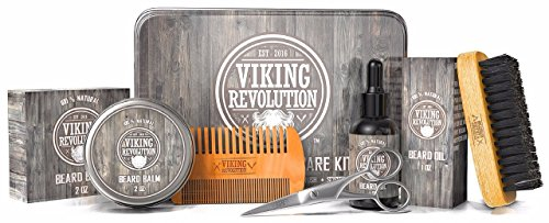 Viking Revolution Beard Care Kit for Men - Ultimate Beard Grooming Kit includes 100% Boar Men's Beard Brush, Wooden Beard Comb, Beard Balm, Beard Oil, Beard & Mustache Scissors in a Metal Gift Box - His Perfect Gifts
