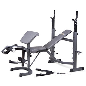 Body Champ Olympic Weight Bench with Preacher Curl, Leg Developer and Crunch Handle, Dark Gray/Black BCB5860 - His Perfect Gifts