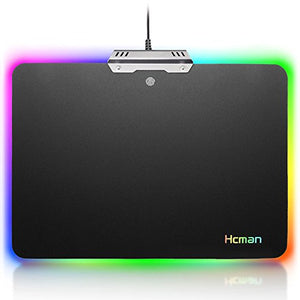 Led Gaming Mouse Pad Large - Hcman Comfortable RGB Lighting Big Hard Computer Mice Mat for Gamer, Waterproof (Black) - His Perfect Gifts