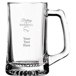 Fantasy Baseball Custom Beer Glass, 16 oz Personalized Baseball Beer Mug Gift With Your Own Engraving Text Prime - His Perfect Gifts