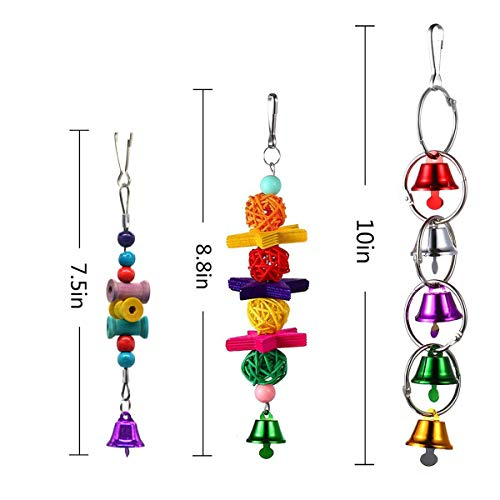 PIVBY Bird Perches Swing Toys Parrot Hanging Bell Pet Bird Cage Hammock Toys for Parakeets,Cockatiels,Conures and Love Birds Pack of 6 - His Perfect Gifts
