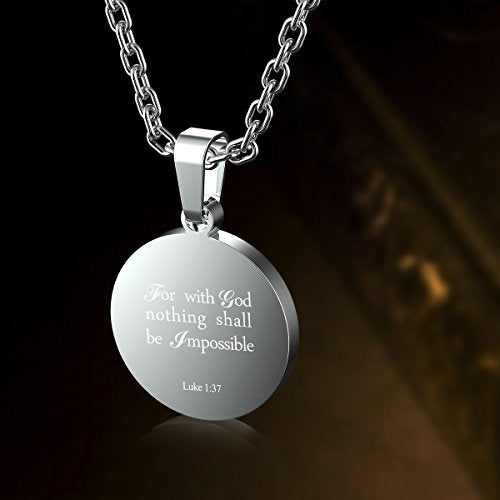 Haoflower Sports Pendant Necklace Football Inspirational Bible Verse Luke 1:37 Christian Gift for Teens - His Perfect Gifts