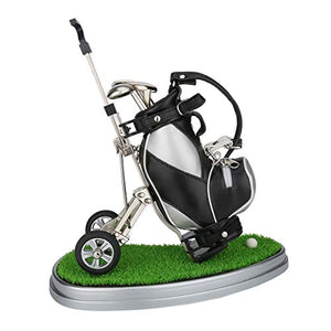 Mini Desktop Golf Bag Pen Holder with Lawn Base and Golf pens 5-Piece Set of Golf Souvenir Tour Souvenir Novelty Gift (Silver and Black) - His Perfect Gifts