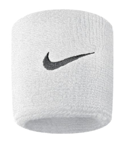 Nike Swoosh Wristbands (White/Black, Osfm) - His Perfect Gifts