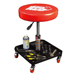 Torin Big Red Rolling Pneumatic Creeper Garage/Shop Seat: Padded Adjustable Mechanic Stool, Red - His Perfect Gifts