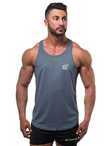 Dri Fit Microfiber Bodybuilding Stringer Tank Top Y-Back Racerback, Large, Charcoal Grey - His Perfect Gifts