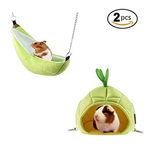 STAR-TOP 2 Pack of Hamster Bed, House Hammock Small Animal Bed House Cage Nest Hamster Accessories for Sugar Glider Hamster Small Bird Pet - His Perfect Gifts