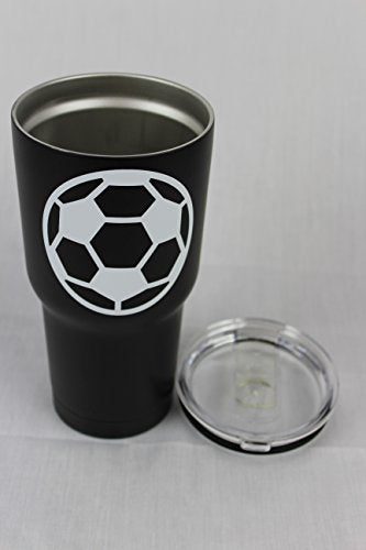 Soccer Tumbler Cup 30oz Gift for Mom Men Sports Travel Coffee Mug, Stainless Steel, Vacuum Insulated, Keeps Water Cold for 24, Hot for 12 hours (Soccer) - His Perfect Gifts