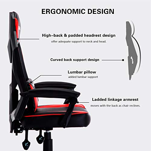 Groovy Uomax Gaming Chairs Ergonomic Computer Chair For Gamers Reclining Racing Chair With Led Lights Armrests And Lumbar Cushion Red Alphanode Cool Chair Designs And Ideas Alphanodeonline