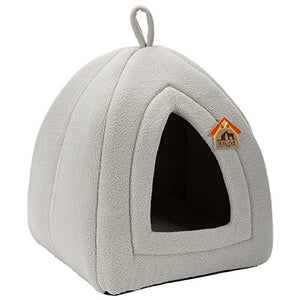 Hollypet Self-Warming 2-in-1 Foldable Comfortable Triangle Cat Bed Tent House, Light Gray - His Perfect Gifts