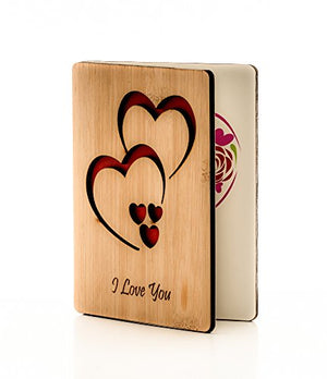 Anniversary card / gift : Classic handmade wooden (Bamboo) greeting can be given to husband, wife, girlfriend, boyfriend, her or him as a romantic gift for Anniversary or Valentines day - His Perfect Gifts