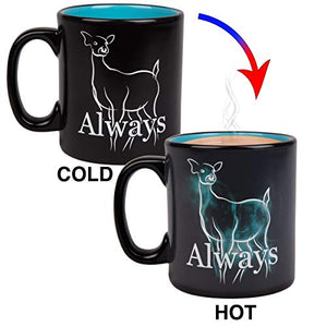Harry Potter Always Heat Reveal Ceramic Coffee Mug - Doe Patronus Activates with Heat - 20 oz. - His Perfect Gifts