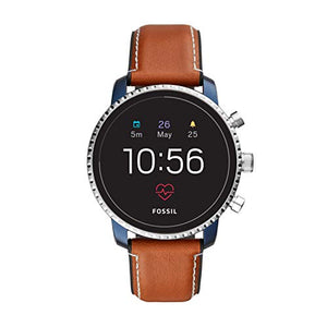 Fossil Men's Gen 4 Explorist HR Stainless Steel and Leather Touchscreen Smartwatch, Color: Blue, Brown (Model: FTW4016) - His Perfect Gifts