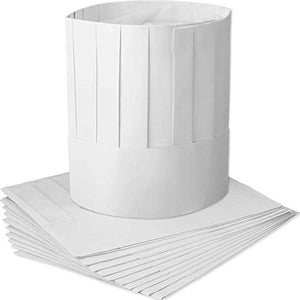 12 Pack Disposable 9 Inch Paper Chef Tall Hat Set Adjustable Kitchen Cooking Chef Cap for Food Restaurants, Home Kitchen, School, Classes, Catering Equipment or Birthday Party - His Perfect Gifts