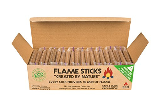 Zedfire Fire Starter Sticks - Waterproof Fire Starters for Camping, Individually Wrapped Natural Charcoal Starters - New Alternative to Fire Starter Squares (100-count) - His Perfect Gifts