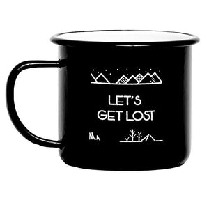 Camp Vibes | Let's Get Lost | Enamel Camping Coffee Mug (450ml) | 2-Sided Unique Geometric Design | Coffee, Tea, Beer, Wine, Perfect Any Time Day - His Perfect Gifts
