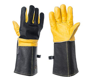 DEFENCES Scratch/Bite Resistant Gloves Gauntlet For Dog Cat Bird Snake Reptile Grooming,15 Inch Leather Work Gloves Kevlar Stitching, Perfect for BBQ, Stove, Welding, Animal Handling Gloves Bite Proof - His Perfect Gifts