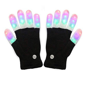 Amazer Light Gloves Adult and Big Children's Finger Light Flashing LED Warm Gloves with Lights for Birthday Light Party Christmas Xmas Dance Thanksgiving Day Gifts for More Fun- Black - His Perfect Gifts