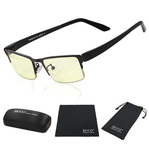 DUCO Optiks Computer Gaming Glasses Anti blue light 100% UV protection Amber Lens GX090 Matte Black - His Perfect Gifts