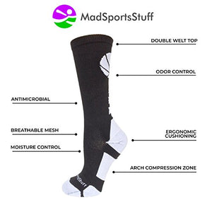MadSportsStuff Basketball Logo Athletic Crew Socks, Small - Black/White - His Perfect Gifts