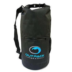 Outpack Gear Dry Bag Waterproof Backpack | Lightweight Daypack Sports Sackpack | Roll Top, Zip Pocket, Water Bottle Holder, Shoulder Straps | Kayaking Beach Boating Gym Hiking Swim Camping | Black 20L - His Perfect Gifts