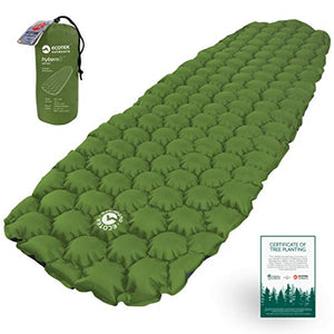 ECOTEK Outdoors Hybern8 Ultralight Inflatable Sleeping Pad for Hiking Backpacking and Camping - Contoured FlexCell Design - Perfect for Sleeping Bags and Hammocks (Evergreen) - His Perfect Gifts