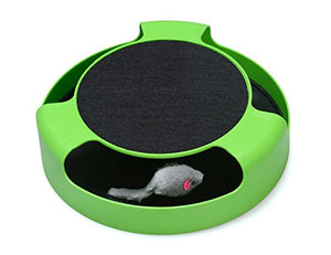 FYNIGO Cat Interactive Toys with a Running Mice and a Scratching Pad,Catch The Mouse,Cat Scratcher Catnip Toy,Green - His Perfect Gifts