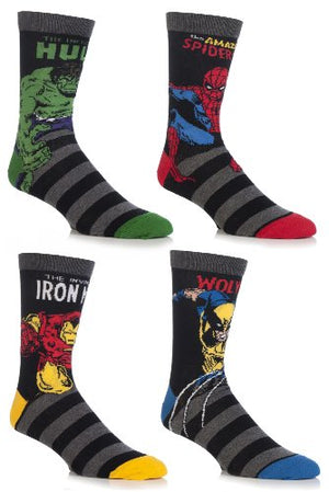 Cartoon Heroes Men's 4 Pair Marvel Comics Socks 12-13.5 Assorted - His Perfect Gifts