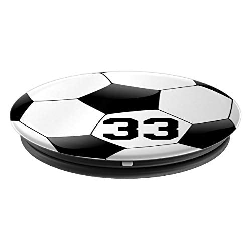 Soccer Number 33 Boys Mens 33rd Birthday Gift Soccer Player - PopSockets Grip and Stand for Phones and Tablets - His Perfect Gifts