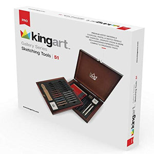 KINGART 120 Gallery Series Sketching Tools, Set of 51 Art Set, Assorted - His Perfect Gifts