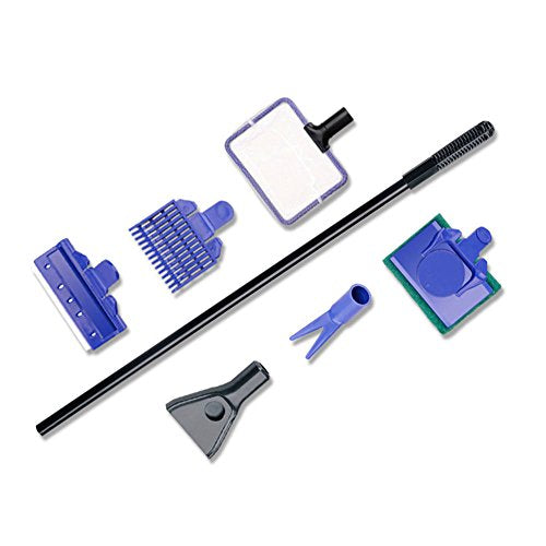 IDS Home 5 in 1 Complete Aquarium Fish Tank Clean Set Fish Net + Rake + Scraper + Fork + Sponge - His Perfect Gifts