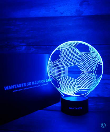 WANTASTE 3D Soccer Ball Lamp, Optical Illusion Night Light for Room Decor & Nursery, Cool Birthday Gifts & 7 Color Changing Toys for Kids, Girls, Boys, Father & Sports Guy - His Perfect Gifts