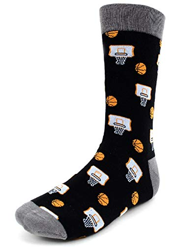 Men's Fun Crew Socks, Sock Size 10-13/Shoe Size 6-12.5, Awesome NEW Styles, Great Holiday/Birthday Gift (Basketball NEW Black) - His Perfect Gifts
