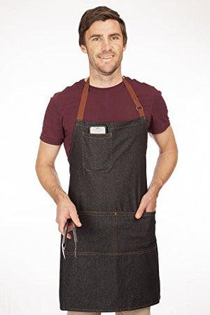 No1Cook Denim Apron with Pockets - Stay Organized When You're BBQ Grilling and Cooking - Stylish Denim Aprons for Men - Make an Awesome Gift - Fully Adjustable, Contemporary Design - Machine Washable - His Perfect Gifts