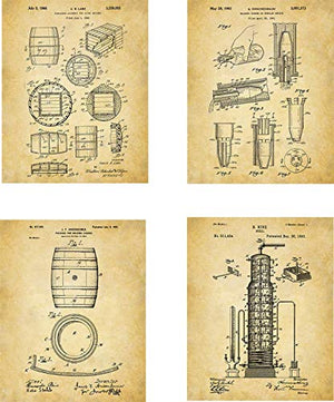 Whiskey Patent Wall Art Prints - set of Four (8x10) Unframed - wall art decor for whiskey drinkers - His Perfect Gifts