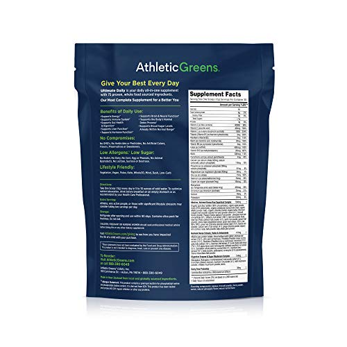 Athletic Greens Ultimate Daily All In 1 Greens Supplement Complete Greens Powder Drink Daily Probiotic Multivitamin Antioxidant Vegan Non GMO GLUTENFREE 30 Servings 360 grams - His Perfect Gifts
