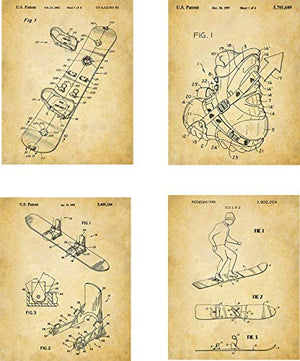 Snowboard Patent Wall Art Prints - set of Four (8x10) Unframed - wall art decor for any snowboarder - His Perfect Gifts