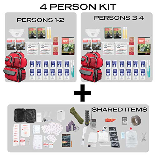 Emergency Zone 4 Person Family Prep 72 Hour Survival Kit/Go-Bag | Perfect Way to Prepare Your Family | Be Ready for Disasters Like Hurricanes, Earthquake, Wildfire, Floods - His Perfect Gifts