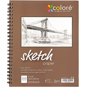 Colore 9x12 Inch Spiral Sketch Pad (1 Pack) - His Perfect Gifts