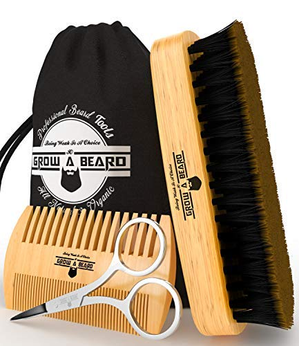 Beard Brush & Comb Set for Men's Care | Christmas Giveaway Mustache Scissors | Gift Box & Travel Bag | Best Bamboo Grooming Kit to Distribute Balm or Oil for Growth & Styling | Adds Shine & Softness - His Perfect Gifts