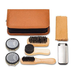 Shoe Shine Kit with PU Leather Sleek Elegant Case, 7-Piece Travel Shoe Shine Brush kit - His Perfect Gifts