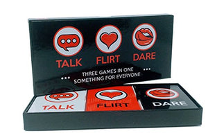 Fun and Romantic Game for Couples: Date Night Box Set with Conversation Starters, Flirty Games and Cool Dares - Choose from Talk, Flirt or Dare Cards for 3 Games in 1 - Includes 150 Gaming Cards - His Perfect Gifts
