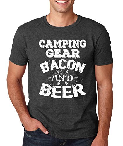 SignatureTshirts Men's Tee, Camping Gear Bacon and Beer- Funny & Cute Apparel - 50% Cotton/50% Poly - His Perfect Gifts