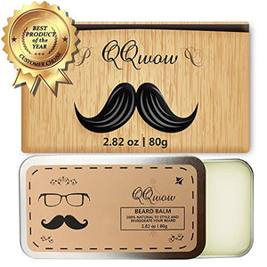 QQwow Beard Balm & Wax & Butter for Men, Sandalwood Scent Leave-in Conditioner, Natural and Organic Ingredients Promotes Mustache Growth & Shine - 2.82 oz … - His Perfect Gifts
