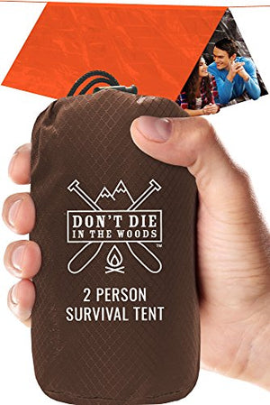 World's Toughest Ultralight Survival Tent  2 Person Mylar Emergency Shelter Tube Tent + Paracord  Year-Round All Weather Protection For Hiking, First Aid Kits, & Outdoor Survival Gear - His Perfect Gifts
