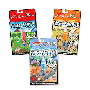 Melissa & Doug Water Wow! 3-Pack (The Original Reusable Water-Reveal Coloring Books - Farm, Safari, Under the Sea - Great Gift for Girls and Boys - Best for 3, 4, 5, 6, and 7 Year Olds) - His Perfect Gifts