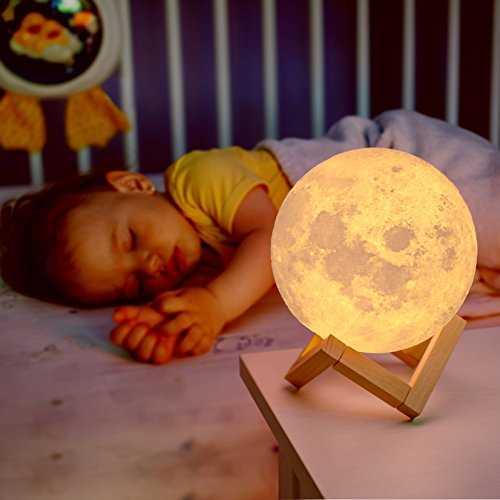 Mind-glowing 3D Moon Lamp - 16 LED Colors, Dimmable, Rechargeable Lunar Night Light (Large, 5.9in) Full Set with Wooden Stand, Remote & Touch Control - Cool Nursery Decor for your Baby, Top Gift Idea - His Perfect Gifts