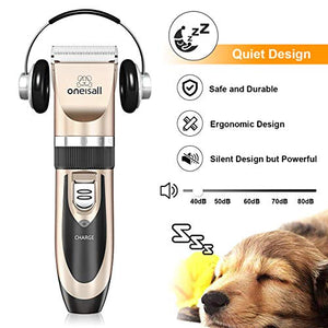 ONEISALL Dog Shaver Clippers Low Noise Rechargeable Cordless Electric Quiet Hair Clippers Set for Dog Cat - His Perfect Gifts